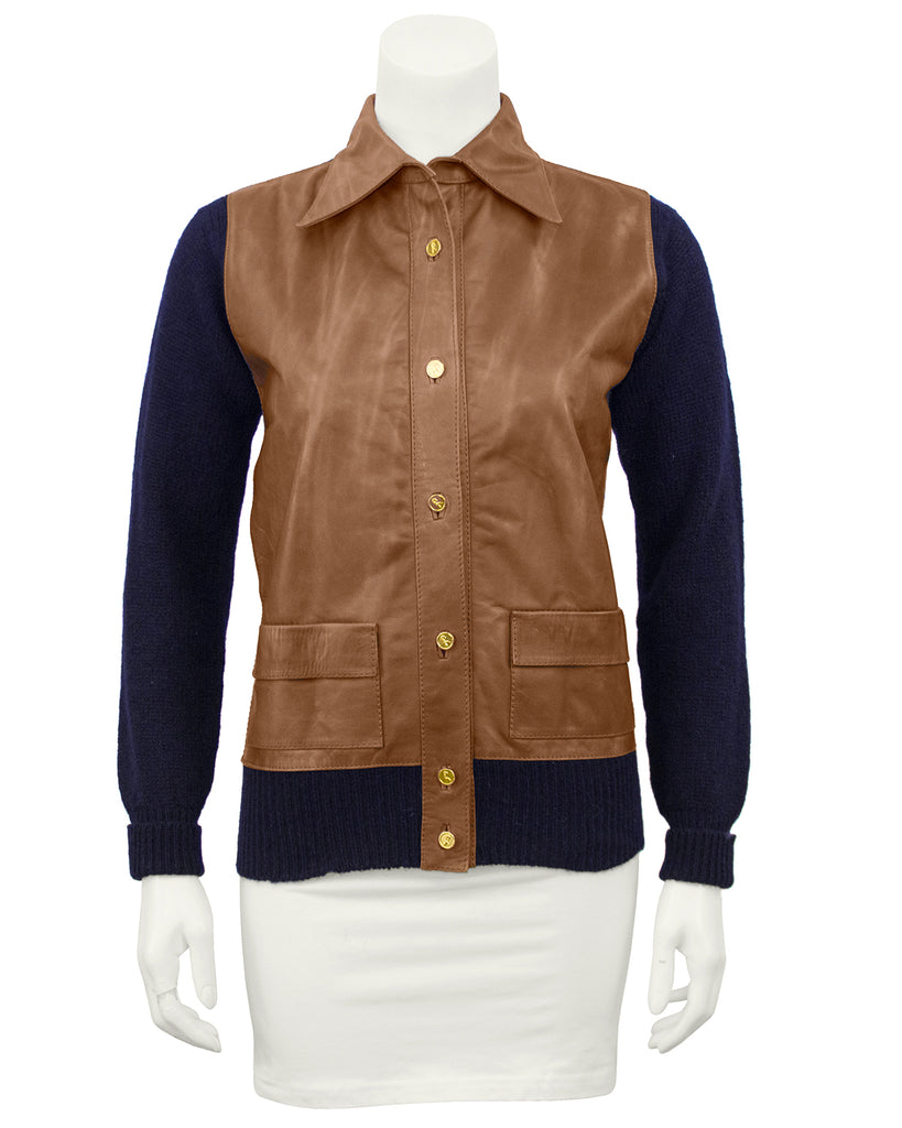 Brown Leather and Navy Blue Knit Jacket