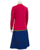 Red, Beige and Blue Trompe L'oeil Ultrasuede Dress