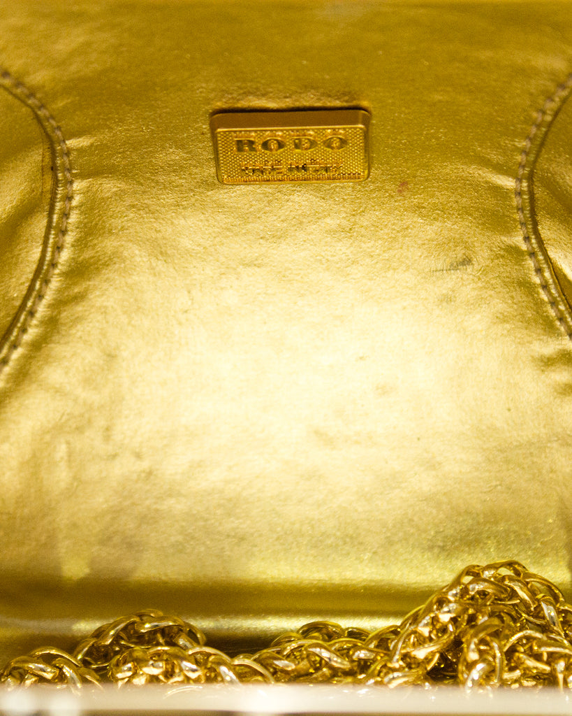 Gold Embellished Hard Evening Clutch