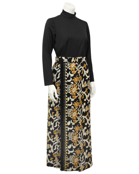 Black and Tan Hostess Style Maxi Dress