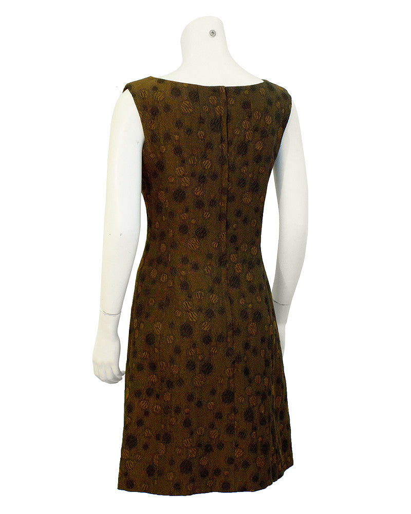 Brown abstract floral brocade set
