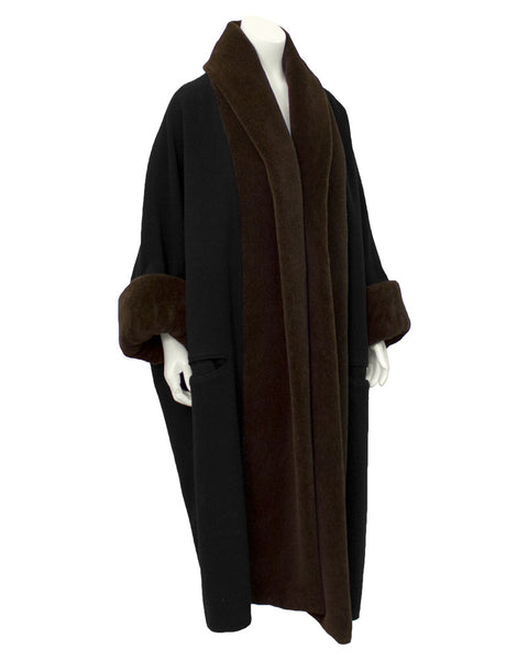 Black Coat with Brown Trim