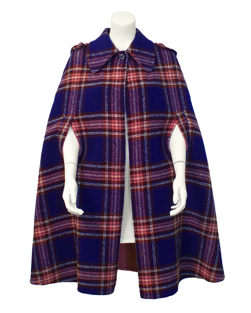 Blue and Pink Plaid Cape