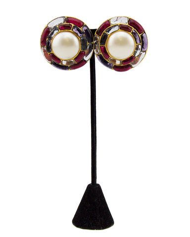 1994 Fall Poured Glass and Pearl Circle Earrings