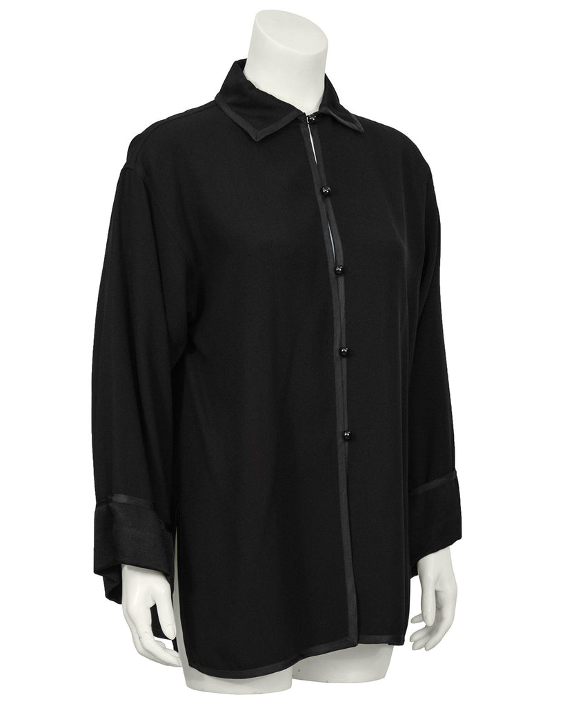Black Silk Crepe Blouse