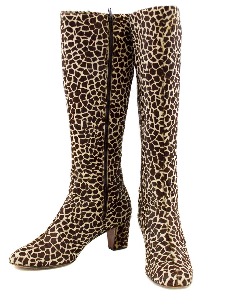 Giraffe Printed Pony Hair Knee High Boots