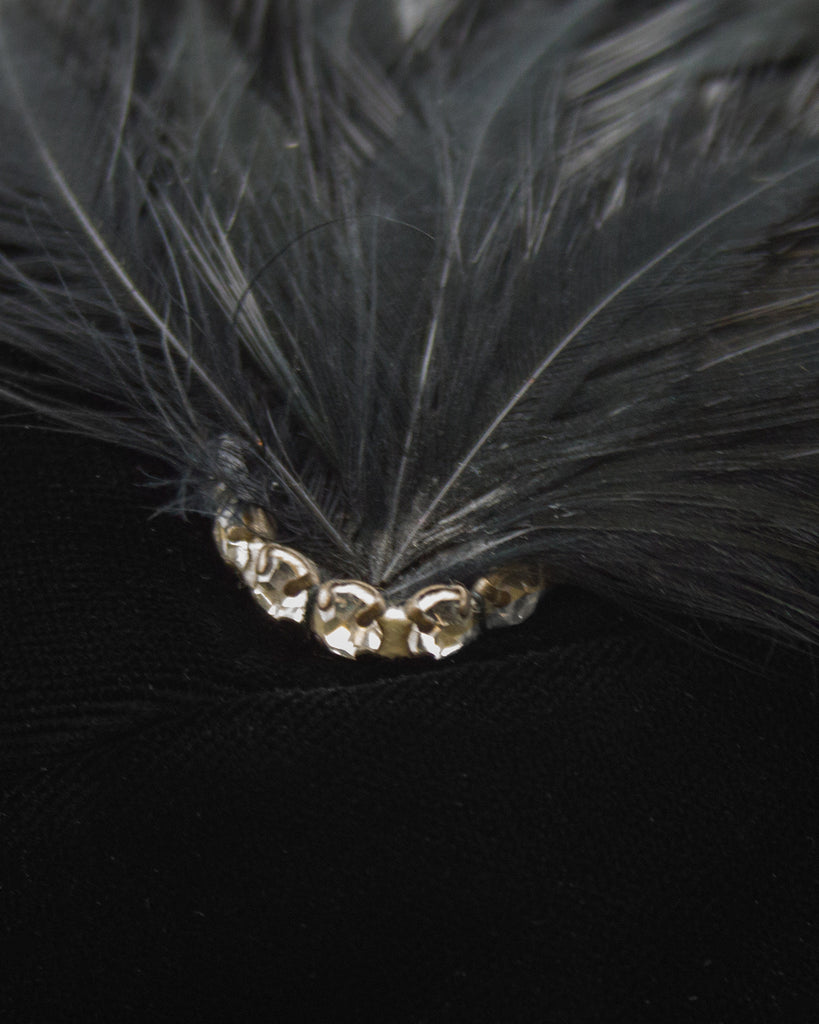 Black Cloche Hat With Feather