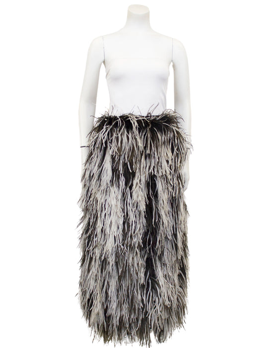 Black and White Ostrich Feather Skirt