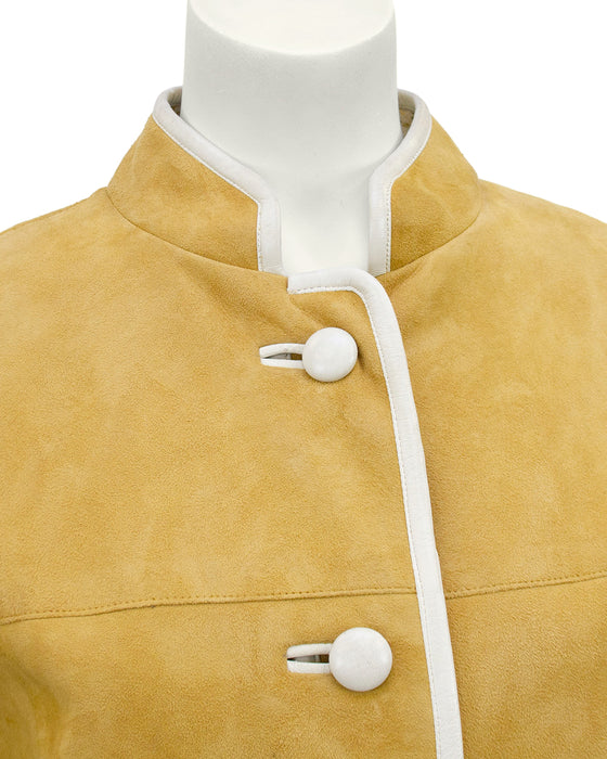 Beige Suede Coat with Cream Piping and Plaid Lining