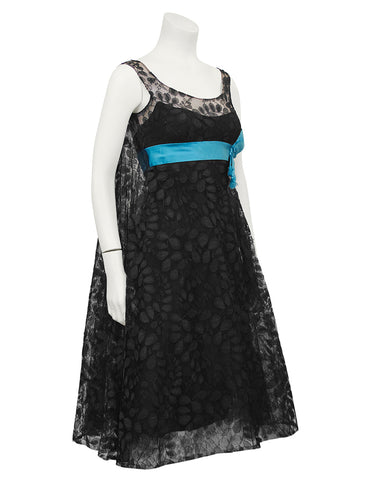 Black Lace Cocktail Dress with Turquoise Ribbon