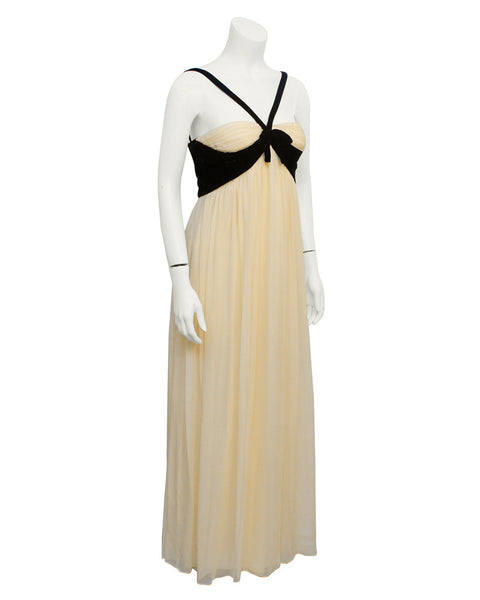 Cream and black velvet gown