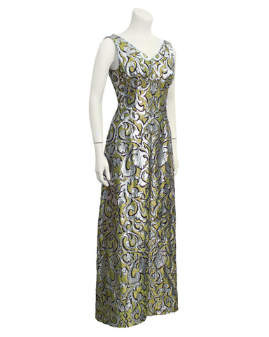 Gold and Silver Brocade Evening Gown