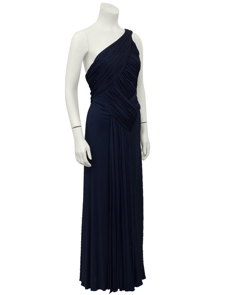 Navy Blue One Shoulder Gown