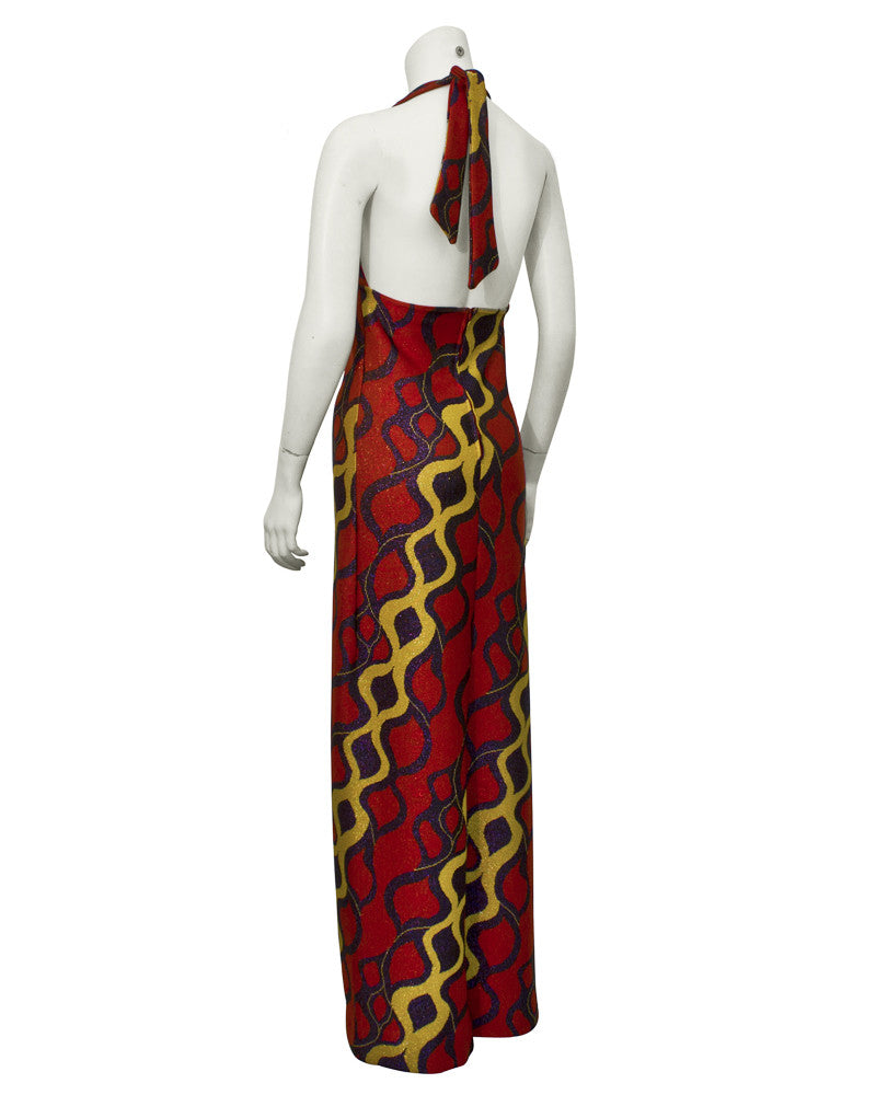 Red and Gold Lurex Gown