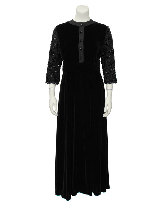 Black Velvet Dress with Beaded Sleeves