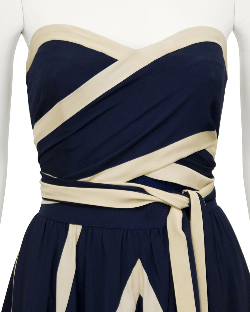 Navy and Beige Striped Ensemble