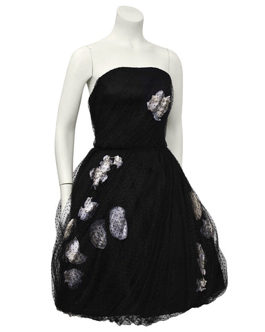 Black & White strapless Tulle Haute Couture Dress