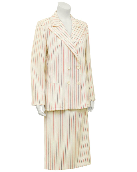 Cream Pin Stripe Wool Suit