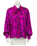 Pink and Black Paisley Silk Blouse