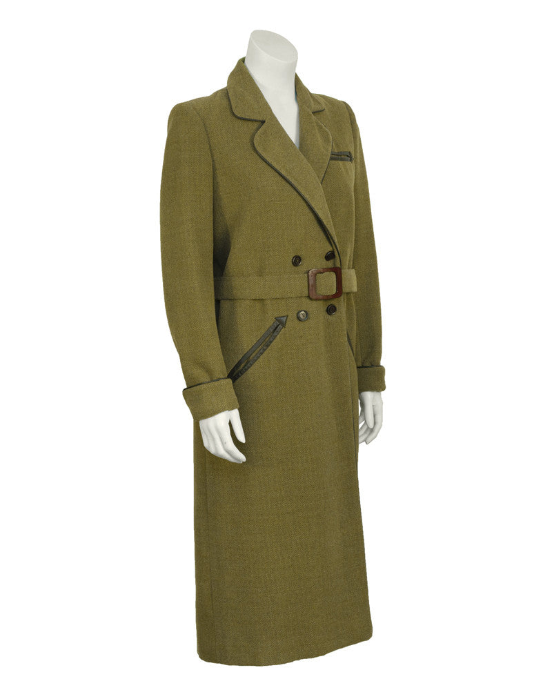 Green Double Breasted Maxi Coat