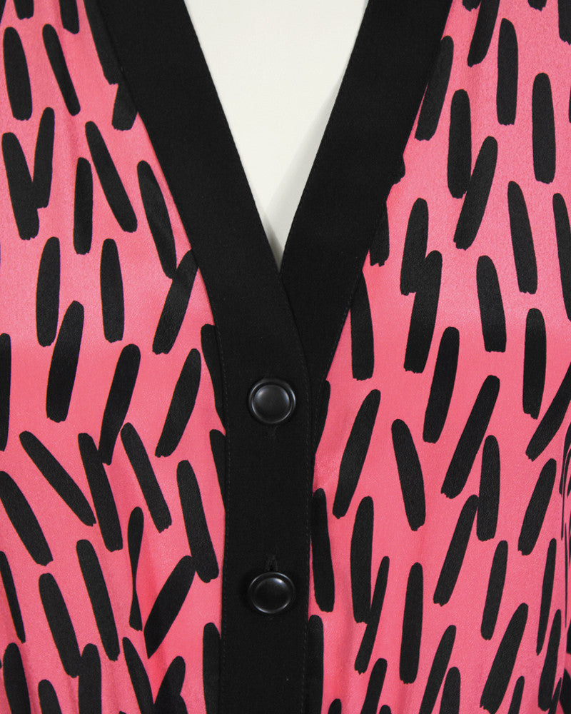 Pink and Black Paintbrush Print Dress