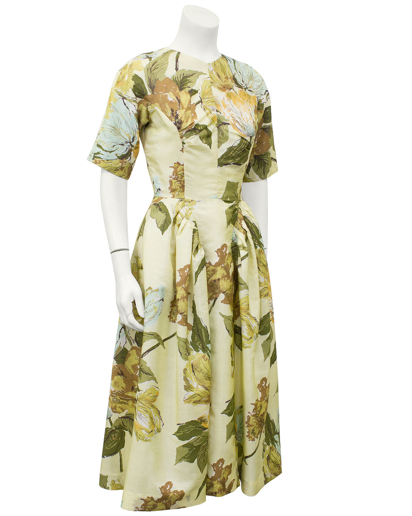 Yellow Floral Printed Fabric Custom Made Dress – Vintage Couture