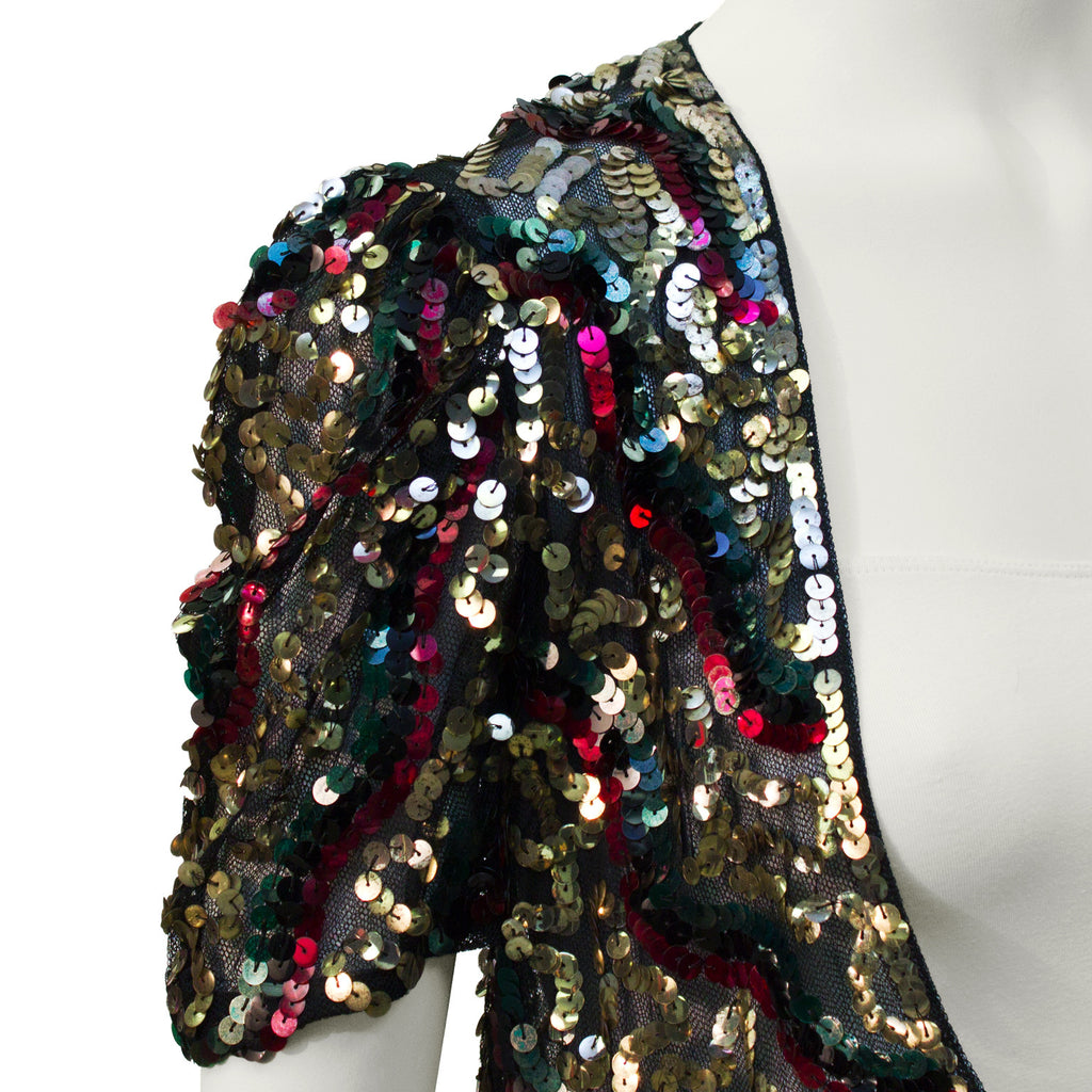 Gold Green and Red Sequin Bolero