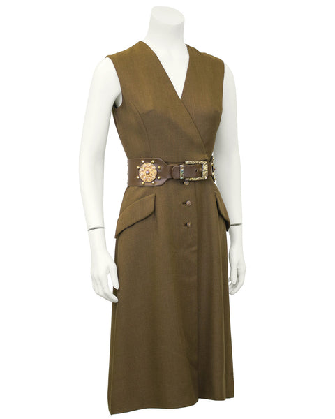 Brown Day Dress with Embellished Belt