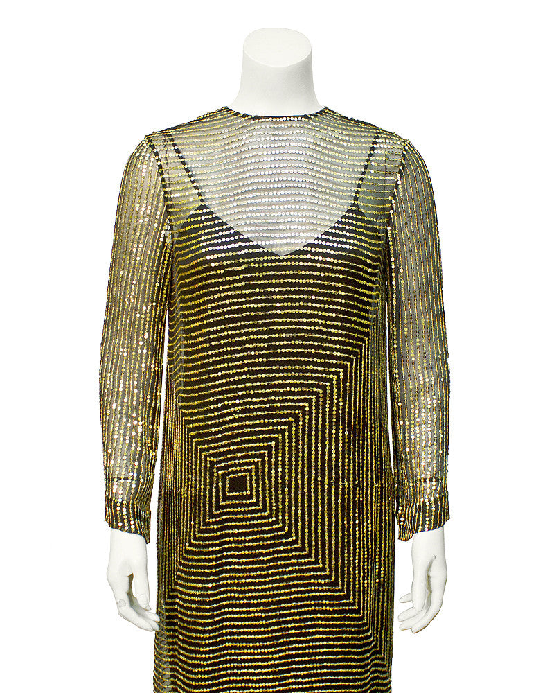 Gold geometric sequin cocktail dress