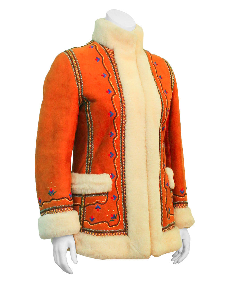 Tan Shearling Embroidered Coat