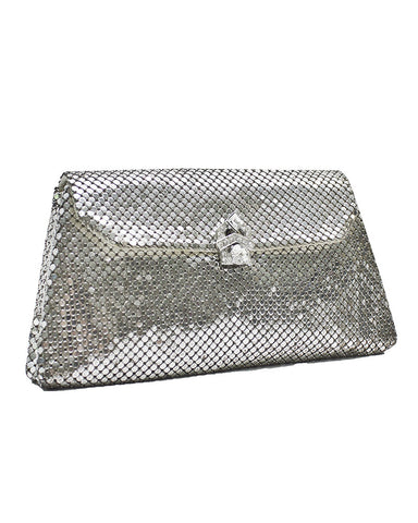 Silver Mesh Clutch with Rhinestone Clasp