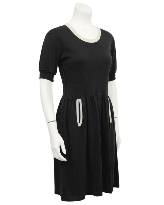 Black Cotton Jersey Dress with White Trim