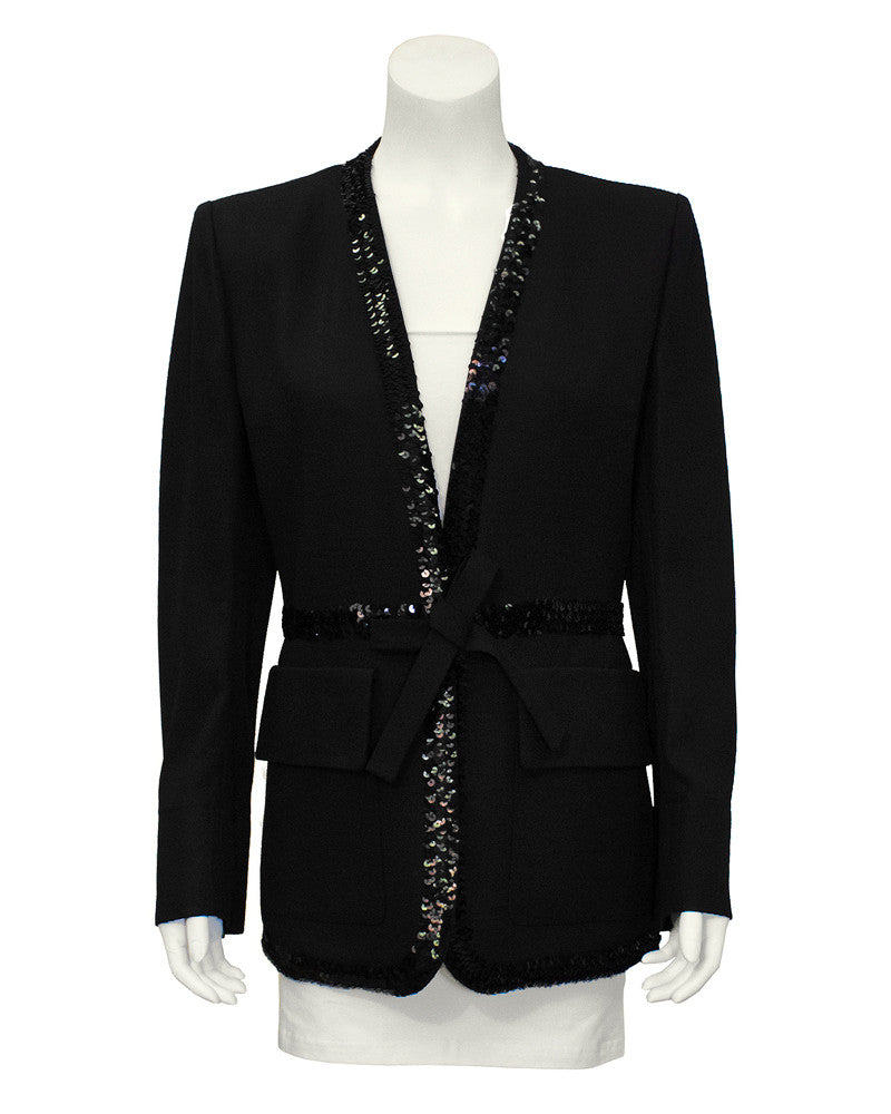 Robe Style Evening Jacket with Sequin Trim