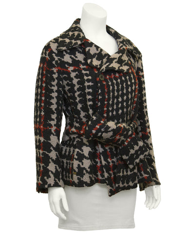 Black & Red Houndstooth Belted Wool Jacket