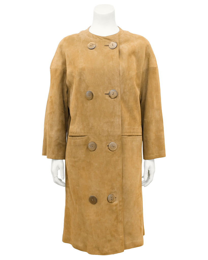 Beige Kid Suede Coat