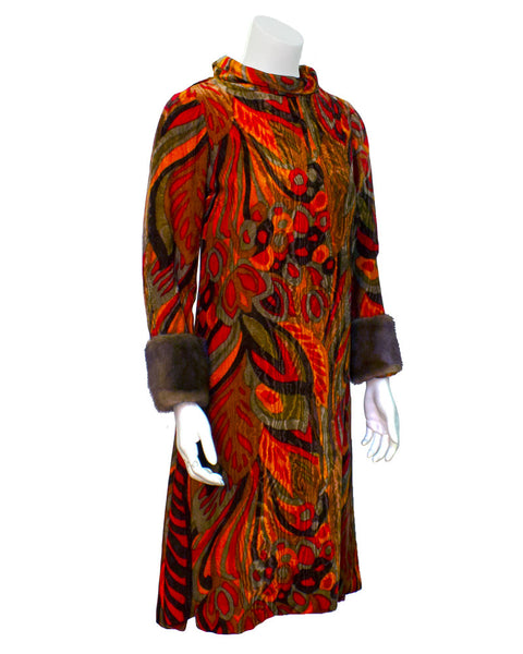 Orange printed velvet dress with mink cuffs