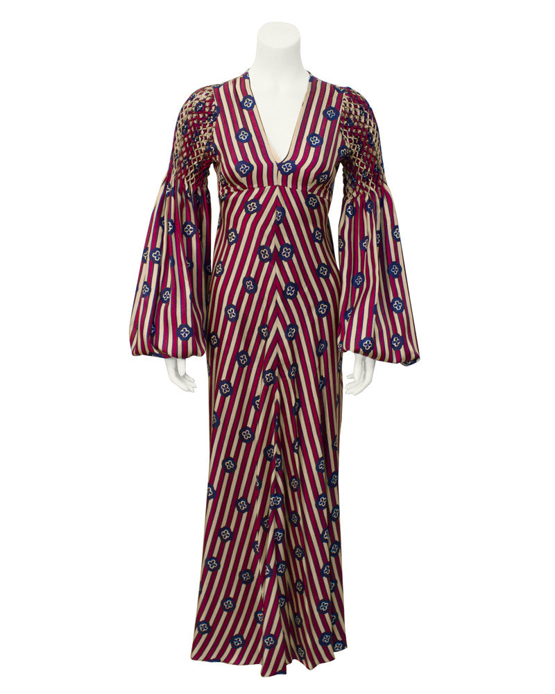 Red Stripe Bohemian Brit Long Dress