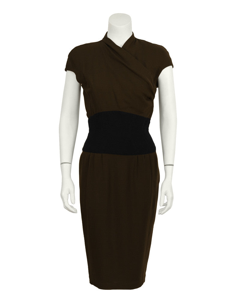 Brown Dress with Black Waistband
