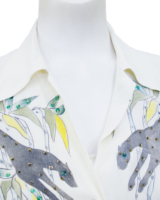 Cream Hand Painted & Jeweled Button Front Shirt