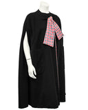 Black Jersey Cape with Black and Red Houndstooth Lining