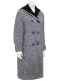 Black and White Tweed Long Coat with Velvet Collar