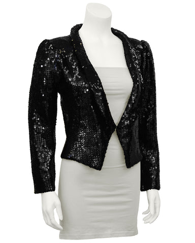 Black Sequin Cropped Jacket