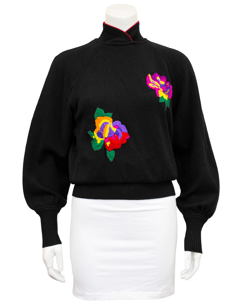 Black Wool Knit Sweater with Oversewn Florals