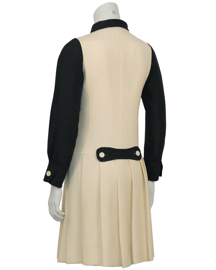 Black and Cream Drop-Waist Dress