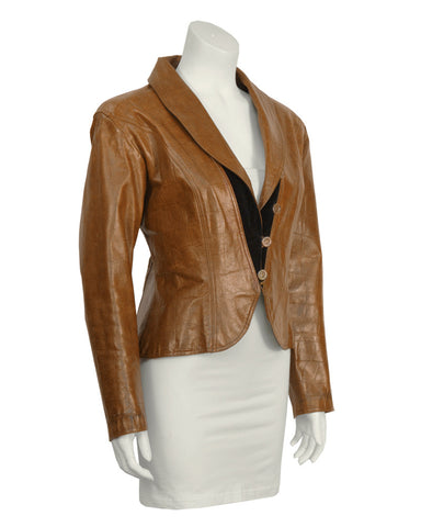 Brown Croc Embossed Brown Leather Jacket