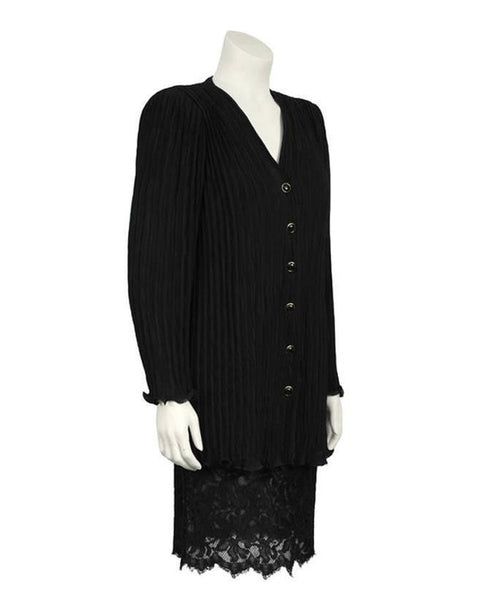 Black Fortuny Pleated Jacket With Lace Skirt