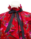 Red Floral Shirt with Necktie