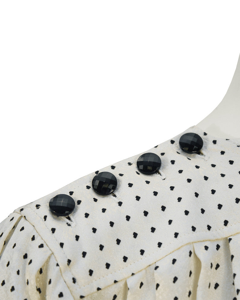 Off White & Black Silk Polka Dot Blouse