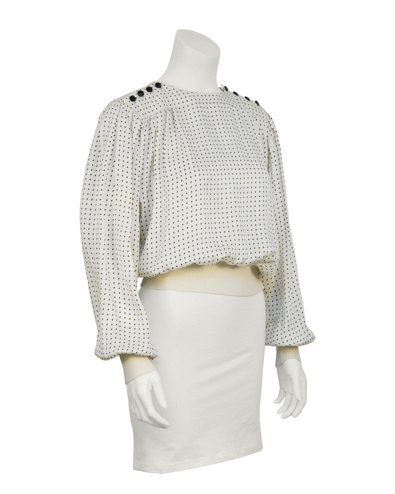 Cream & Black Silk Polka Dot Blouse