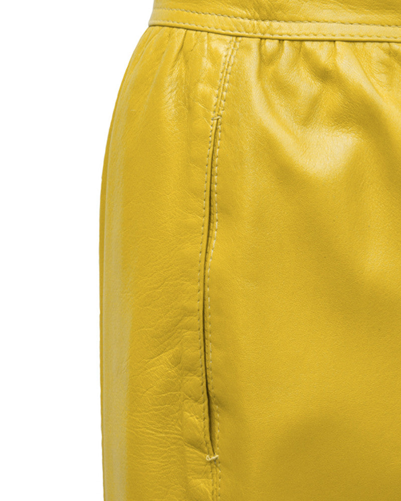 Yellow Leather Skirt
